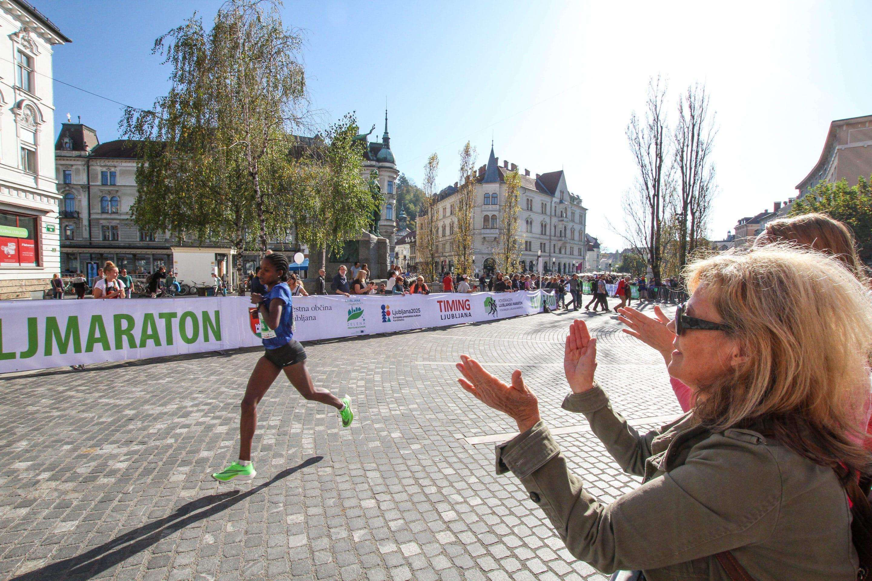 Female marathon runner competing