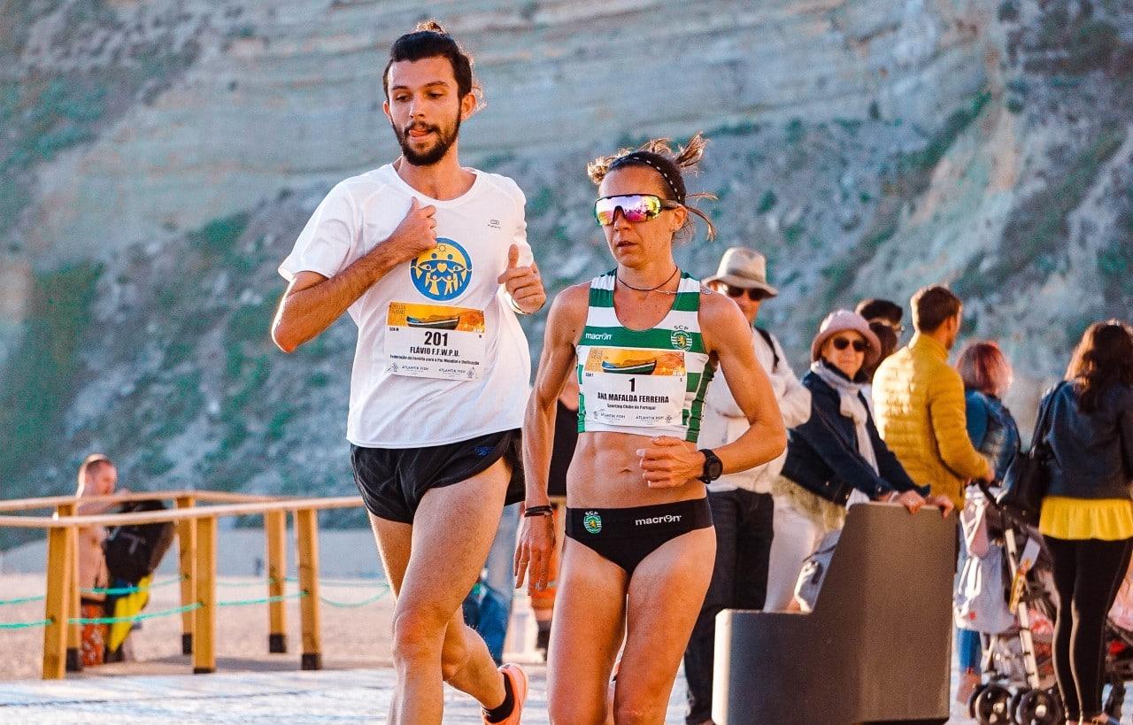 Female athlete competing